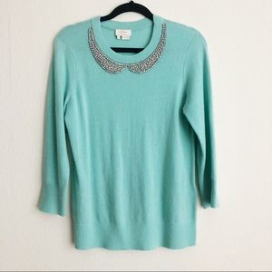 Kate Spade Jeweled Peter Pan Collar Sweater